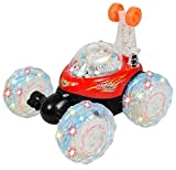 Haktoys HAK101 Invincible Turbo Twister - Rechargeable RC Tornado Stunt Car with LED Lights and Music - Red