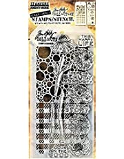 Stamper's Anonymous Tim Holtz Bubbles Plaid Gingham Flowers Beauty Mixed Media Stamp and Stencil Set THMM124