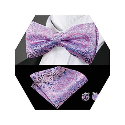 Barry.Wang Pretied Silk Bow Tie Purple Paisley Bowtie Pocket Square Cufflinks Set Mens Necktie Set