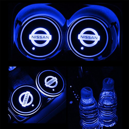 JiangJing Led Car Cup Holder Mat Pad Waterproof Bottle Drinks Coaster Built-in Vibration Automatically Turn On at Dark Universal 7-Color Light 2-Packs for Nissan ()