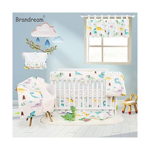 Brandream Dinosaur Crib Bedding Sets with Crib Wrap Rail Cover White 100% Breathable Cotton 9 Pieces
