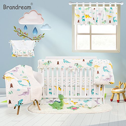 - Brandream Dinosaur Crib Bedding Sets with CribWrap Rail Cover White 100% Breathable Cotton 9 Pieces