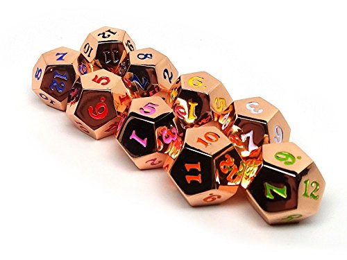Bulk Collection of Rose Gold D12 Dice - 9 Total Dice with 9 Unique Colors