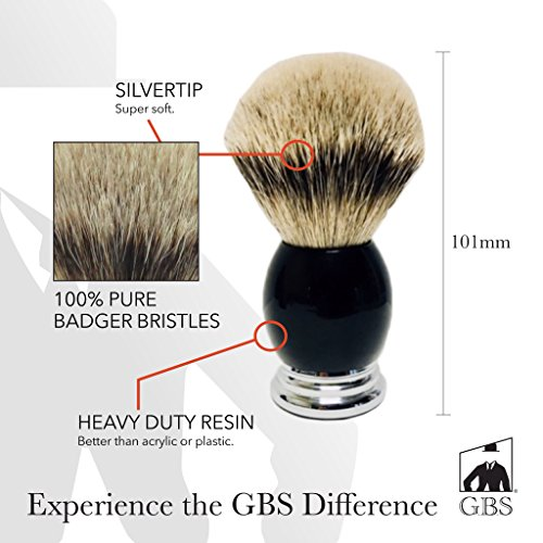 Men's Luxury Silvertip Badger Bristle Shaving Brush Black Handle with Chrome Base Comes with Free Stand from GBS