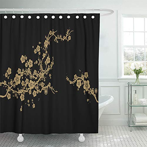 Emvency Shower Curtain Waterproof Decorative Bathroom 72 x 72 inches Chinese Golden Cherry Blossom Against Black Japan Flower Floral Tree Oriental Gold Polyester Fabric Set with Hooks