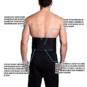 Waist Trimmer Ab Belt For Men Women - 3 Adjustable Closure Waist Trainer - Stomach Wrap Slimming Sauna Weight Loss Belts and lower Back Lumbar Support by Cotill (Medium)