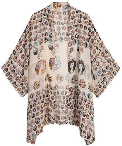 WEIYAN Women's Summer Tops Loose Chiffon Kimono Cardigan Beach Swim Cover up Blouse (Skull, S) ()