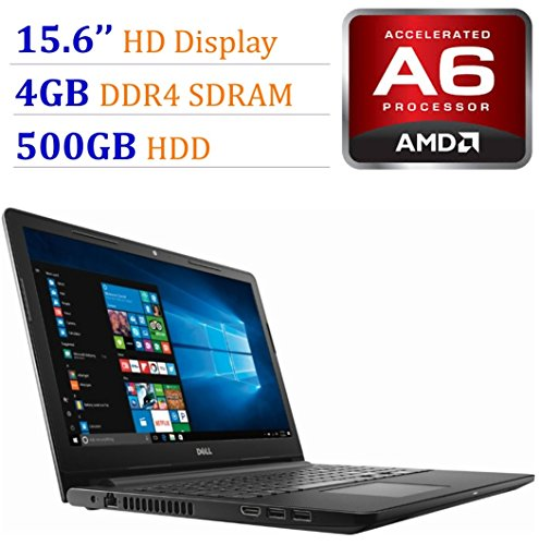 2018 Newest Premium Dell Inspiron 15.6-inch HD Display Laptop PC, 7th Gen AMD A6-9220 2.5GHz Processor, 4GB DDR4, 500GB HDD, WiFi, HDMI, Webcam, MaxxAudio, Bluetooth, DVD-RW, Windows 10-Black (Dell Laptop Dvd Burners)