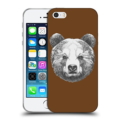 GoGoMobile Coque de Protection TPU Silicone Case pour // Q05350633 Ours portrait Sépia // Apple iPhone 5 5S 5G SE