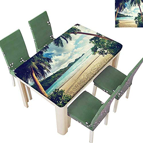 Polyester Fabric Tablecloth Sunset Summer Holiday and Beach Vintage Style Picture Print Green Blue Ecru Summer & Outdoor Picnics 50 x 72 Inch (Elastic Edge)