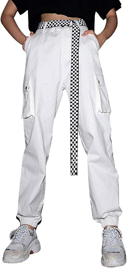 Tininna Pantalones Sueltos Deportivos Pantalones Casuales De Mujer Pantalones Cargo Para Mujer Pantalones Largos De Cintura Alta De Moda Para Baile Hip Hop Ocio Deportes Al Aire Libre Blanco L Amazon Es Hogar
