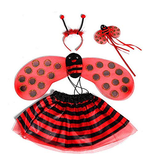 Bee Costumes Wings Tutu Skirts 4 Piece Sets Party Fancy Dress Halloween, red Ladybird