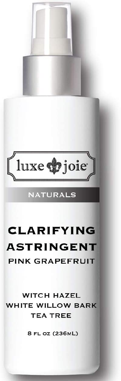 Clarifying Astringent Tea Tree White Willow Bark Witch Hazel Toner Pink Grapefruit 8oz pH Balancing for Clear Toned Acne Free Completion Reduce Pore Size and Eliminate Blackheads