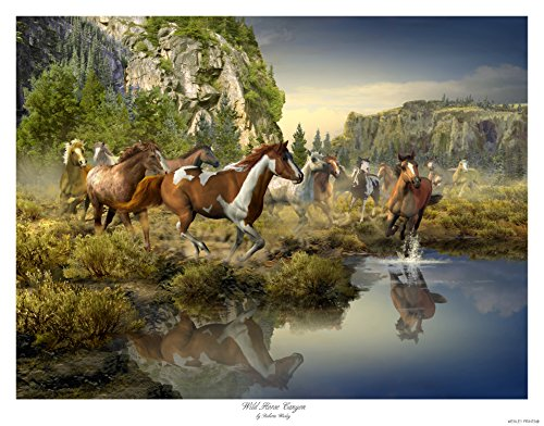 Wild Horse Canyon - 24x18 landscape with wild running horses - art print by Roberta Wesley - direct from Wesley Prints, sole authorized publisher and licensor of artist's work. (1) (Sage Pinto Horse)
