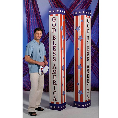 - Shindigz 7 ft. 4 in. Patriotic USA Columns Photo Booth Prop Background Backdrop Party Decoration Scene Setter