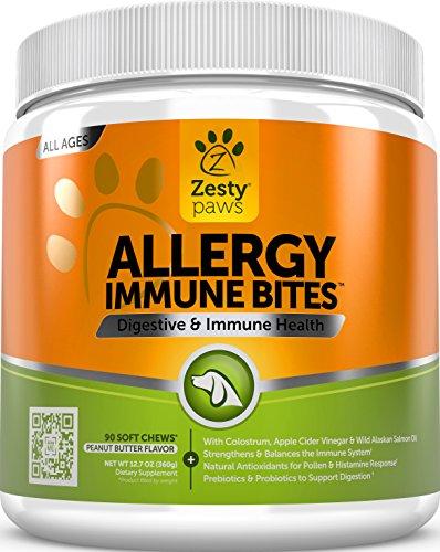 Allergy Immune Supplement for Dogs – With Omega 3 Wild Alaskan Salmon Fish Oil & EpiCor + Digestive Prebiotics & Probiotics – Seasonal Allergies + Anti Itch & Hot Spots Skin Support – 90 Chew Treats…
