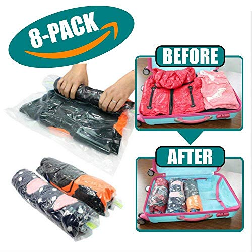 Pipeline Space Saver Compression Bags – Roll Up No Vacuum Required – Heavy Duty Packing Organizer Protects Clothes During Storage and Travel – 8 Pk