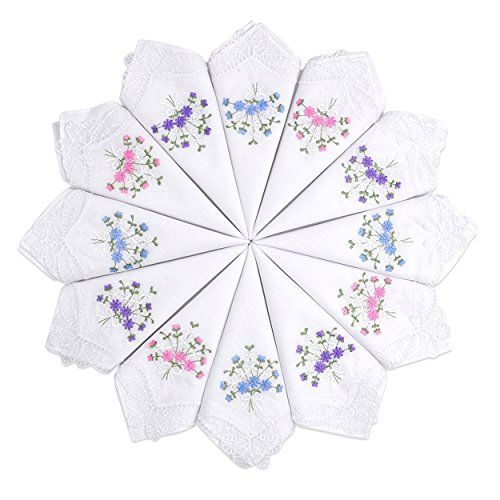 Selected Hanky Ladies/Women's Cotton Handkerchief Flower Embroidered with Lace 12 Pack - - Bridal Hanky Handkerchief