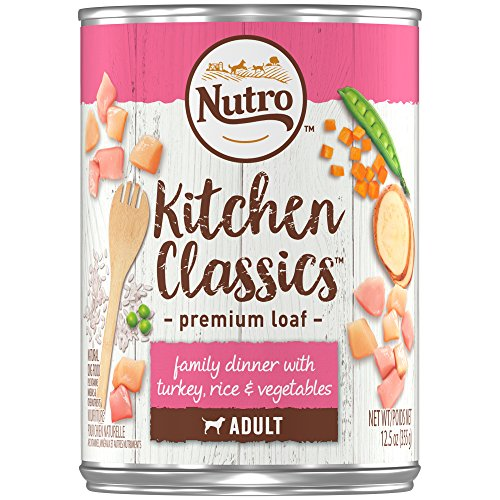 Classic Turkey (NUTRO Kitchen Classics Adult Wet Dog Food, Family Dinner With Turkey, Rice & Vegetables 12.5 Ounce Cans (Pack of 12); Rich in Nutrients and Full of Flavor; Supports Healthy Digestion & Healthy Skin and Coat)