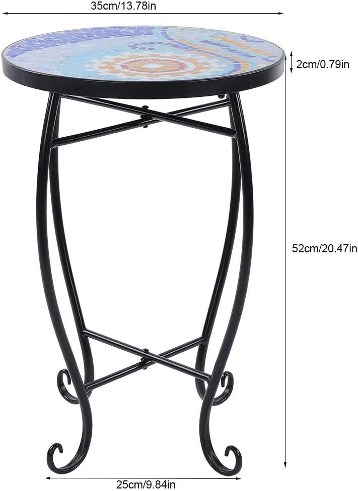 52 x 35 cm terrazza tavolo da giardino rotondo interno ed esterno in mosaico per giardino Sgabello a mosaico con fiori in vetro dipinto