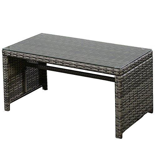 Goplus 4 Rattan Patio Lawn Sofa Set and Glass