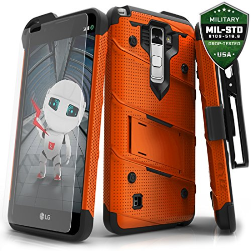 LG Stylo 2 Plus Case, Zizo [Bolt Series] w/FREE [Stylo 2 Plus Screen Protector] Kickstand [12 ft. Military Grade Drop Tested] Holster Clip - LG MS550