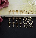 REVOLIA 10Pairs Stainless Steel Cartilage Earrings