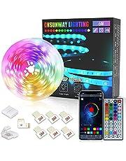 CNSUNWAY LIGHTING Listwy świetlne LED 6M, Bluetooth 24V SMD5050 RGB Taśma świetlna Zmieniający kolor Zestaw listwy świetlnej z pilotem na podczerwień do sypialni Kuchnia Sufit TV Bar Party