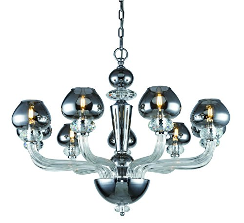 (7874 Prescott Collection Chandelier D:33 H:25 Lt:9 Silver Shade Finish)