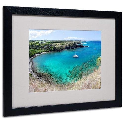 Honolua Bay by Pierre Leclerc Canvas Wall Artwork, Black Frame, 16 by - Green Beach Maui