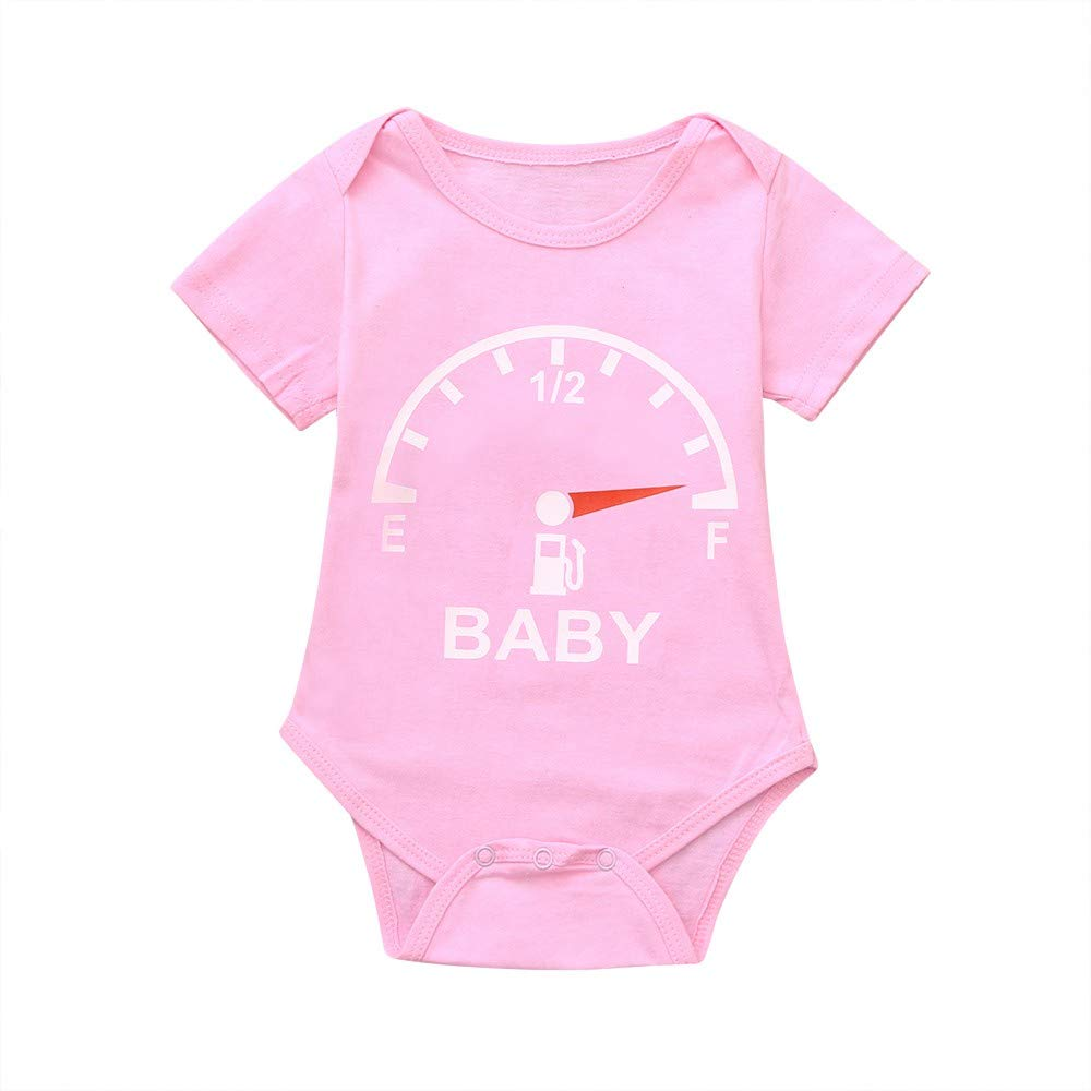 NUWFOR Toddler Baby Short Sleeve Clocks Print Romper Tops Matching Family Clothes(Pink,6-9 Months)