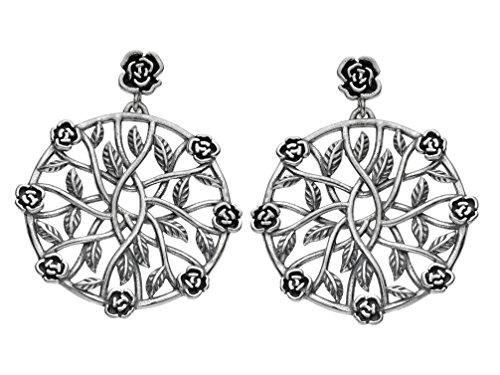 Paz Creations .925 Sterling Silver Rose Pinwheel Dangle Earrings, Made in Israel