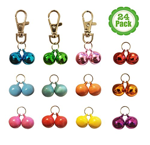 Cat Collar Bells, 24-Pack, Dog Collar Bells, Loud Or Soft, Pet Bells For Potty Training, Colors (Red, Blue, Orange, Green, Pink, Purple) Matching Collars, Bemix Pets