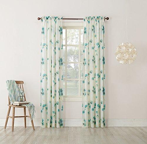 No. 918 Kiki Floral Print Crushed Sheer Voile Rod Pocket Curtain Panel, 51