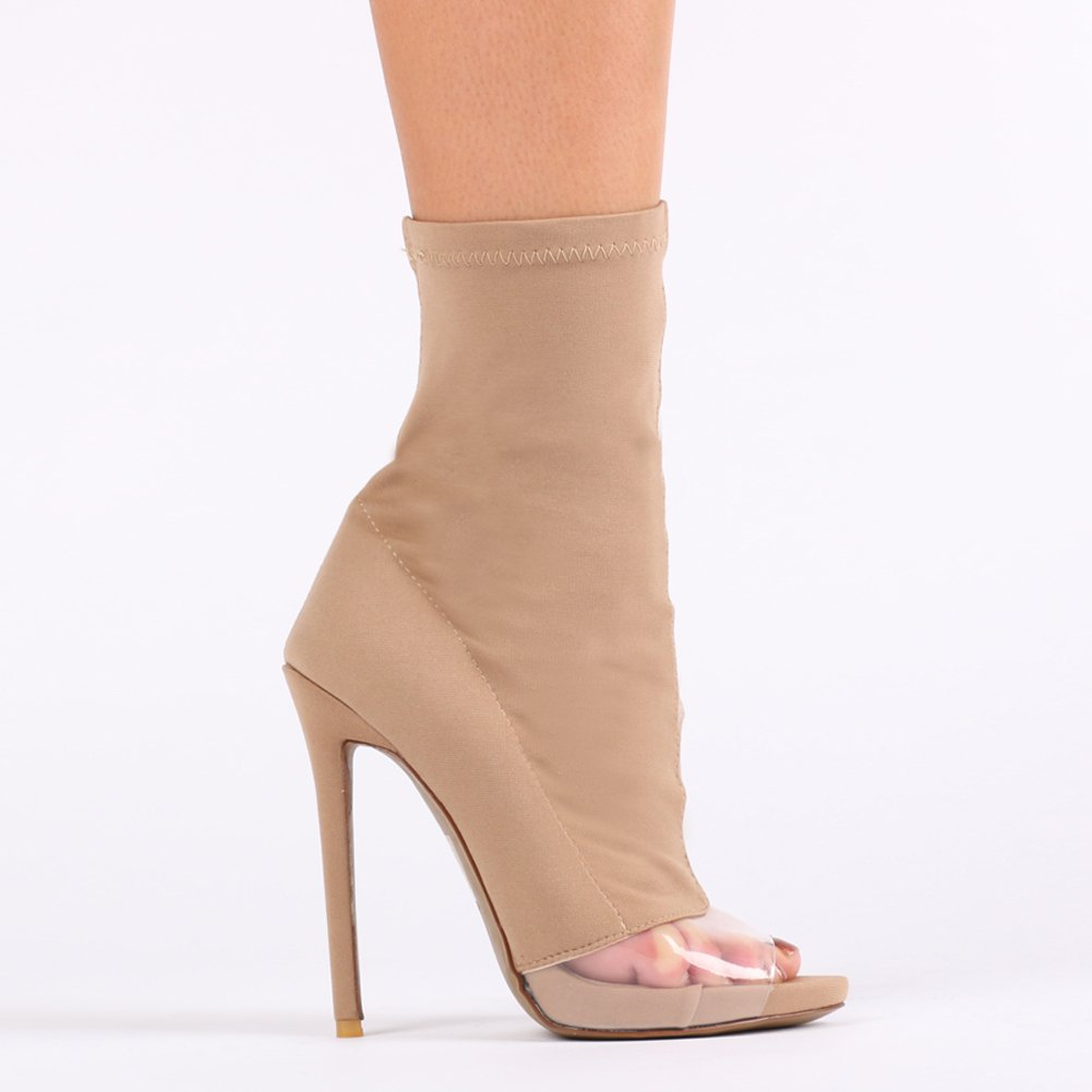 6c9e196f0eb9 Womens Pull On Perspex Detail Stiletto Heel Sock Fit Ankle Boots In Nude Uk  8  Amazon.co.uk  Shoes   Bags