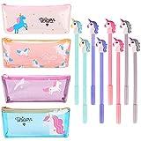 4 Pack Unicorn Pencil Case with 8 Pcs Unicorn Gel Pens Pencil Box Holder Pouch Unicorn School Supplies Unicorn Gifts for Kids Girls Boys Teens