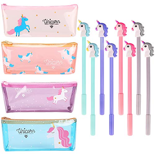 4 Pack Unicorn Pencil Case with 8 Pcs Unicorn Gel Pens Pencil Box Holder Pouch Unicorn School Supplies Unicorn Gifts for Kids Girls Boys Teens by ANNTOY
