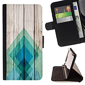 For Apple Iphone 4 / 4S Teal Pattern Square Style PU Leather Case Wallet Flip Stand Flap Closure Cover