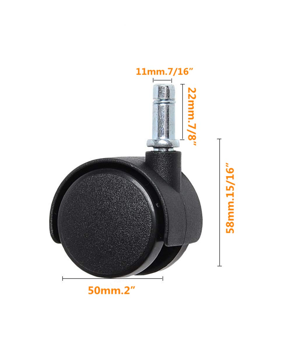 7//16 X 7//8 Mazhashop 5 Packs Office Chair Casters Wheels with Universal Standard Size 11mm Stem Diameter and 22mm Stem Length