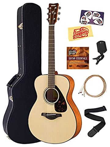 Yamaha FS800 Solid Top Small Body Acoustic Guitar - Natural Bundle with Hard Case, Tuner, Strings, Strap, Austin Bazaar Instructional DVD, Picks, Polishing (Small Tuner)