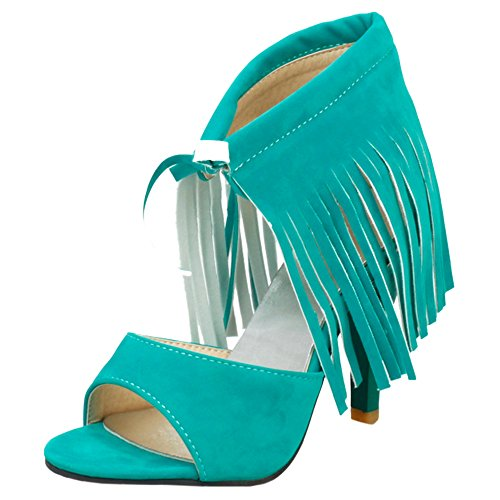 Fringe Green Open Toe Fashion High TAOFFEN Lace with Heels Sandals Up Women vpSwqa