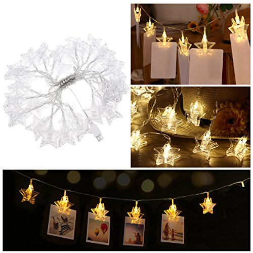 YUNLIGHTS LED Photo Clips String Lights USB Powered Fairy String Lights Warm White 30 LED Stars 18 ft, Bedroom Wedding Party Christmas Home Decor Lights for Hanging Cards, Pictures, Notes, (Christmas Star Picture)