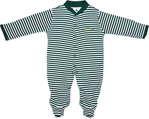 Oregon Ducks Arched Oregon Baby Striped Footed Romper Hunter/White