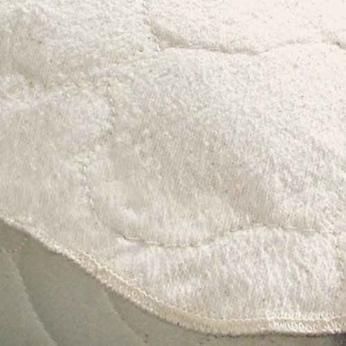 Organic Flannel Mattress Pad - Certified Organic Flannel Oval Crib Mattress Protector Pad (Fitted) - 27 x 47 x 4 Inches