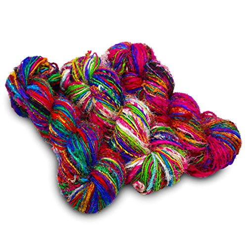Paradise Fibers Recycled Sari Silk Yarn (Multi Color) - 3 Skein Bundle, 50 Yards, 100 Grams, Per Skein