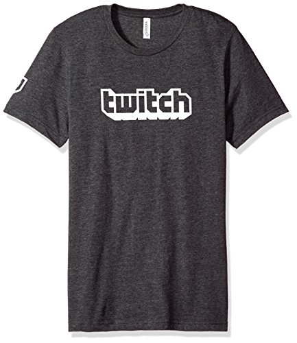Twitch Logo Men's Tee S/S Crew (Large, Charcoal) by Twitch