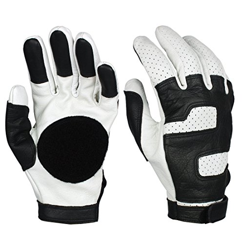 Leather Player - Andux Land Longboard Gloves Skateboard Slide Gloves Downhill Soft Leather Light Professional Player HBST-07 (S)