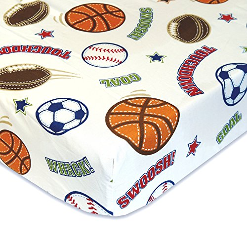 Sports Balls - Cotton Polyester Fitted Crib Sheet - Soft Nursery Bedding for Boys / Girls - TOP QUALITY Infant & Toddler Bed Sheets for Christmas and Baby Shower Gift by Cuddly (Boys Sports)