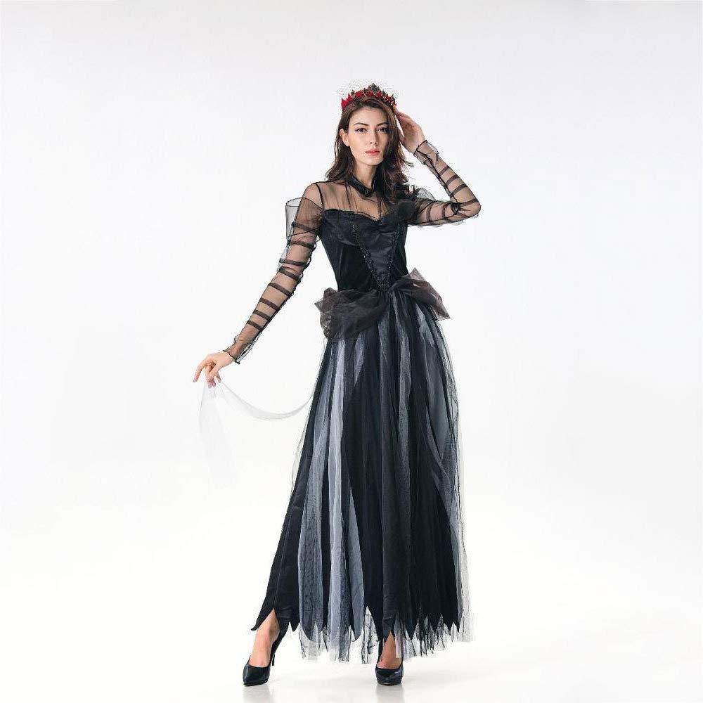 Yunfeng Hexenkostüm Damen Halloween-Kostüm Vampir Hexe Horror Braut Prom Spielen Geisterkostüm schwarz