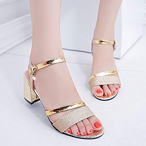 lady alto dolce tacco con Golden tacchi Estate scarpe moda punta alti donna YMFIE da tY4wvaqx